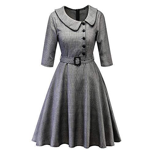 (Women Daily Vintage Dress, Princess Plaid Peter Pan Collar Irregular Party Aline Swing Dress Gray L)