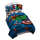 Marvel Avengers Good Guys Twin/Full Comforter - Super Soft Kids Reversible Bedding features Iron Man, Hulk, Captain America, and Spiderman - Fade Resistant Polyester (Official Product)