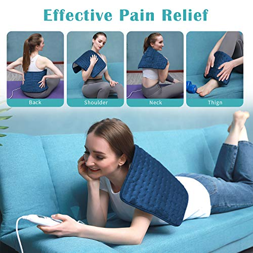 XIRGS Heating Pad, Electric Heating Pad for Back Cramps Neck Pain Relief, Dry & Moist Heat Therapy, 10 Heat Setting, 9 Timer Setting - Auto Shut Off Hot Heat Pad Size 12\'x24\',Machine-Washable (Blue)