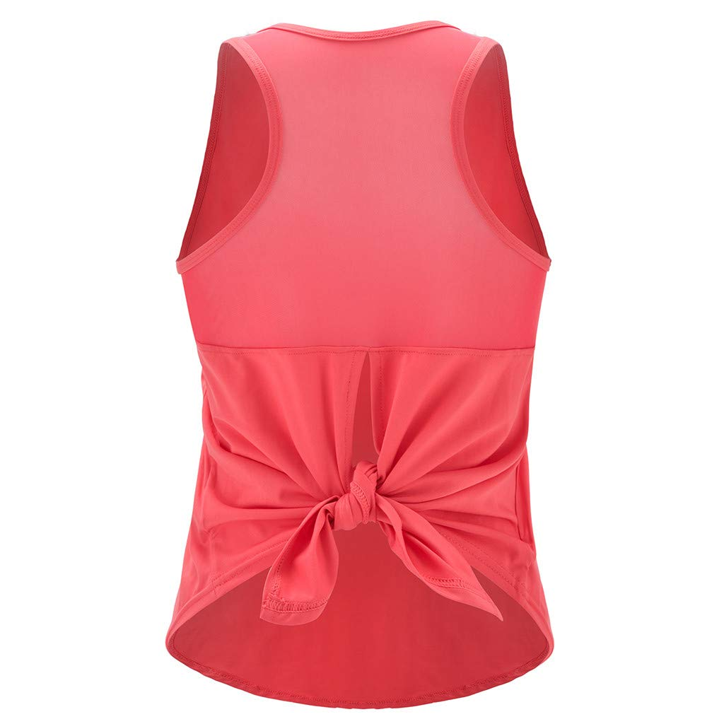 Mlide Womens Womens Summer Solid Color Shirts Sleeveless Casual Racerback Workout Tank Tops Watermelon Red by Mlide (Image #8)