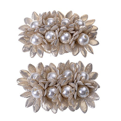 Douqu Shoes Dress Hat Accessories Fashion Rhinestones Crystal Shoe Clips 2 Pcs Multi Color (Beige)