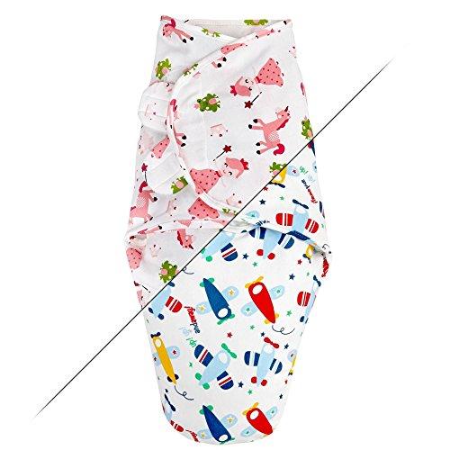 TALINU rosa Pucksack / Strampelsack / Pucktuch aus 100 % Baumwolle mit praktischem Klettverschluss - Motiv