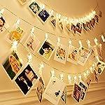 Miaro Cuerda de clips para fotos, 40 LED, decoración de luces para boda, fiesta, Navidad, interiores, hogar, blanco