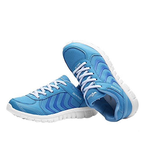 Womens Lightweight Breathable Mesh Tennis Athletic Fashion Sneakers Walking Sports Road Running Shoes Plus Size 4.5-10.5 Blue vkiak