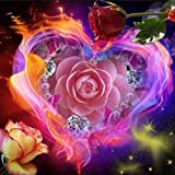 5D Diamond Painting, Staron Full Drill DIY 5D Diamond Rhinestone Crystal Painting Cross Stitch Kit Wall Art Decor Diamond Embroidery Painting by Number Kits Home Decor, Flower Heart (Rose Hearts❤️)
