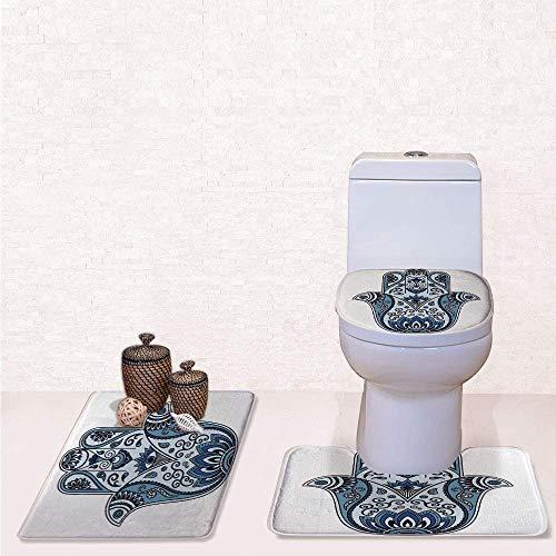 Print 3 Pcss Bathroom Rug Set Contour Mat Toilet Seat Cover,Mystical Ancient Civilizations Culture Protective Power Luck Evil Eye with Pale Blue Indigo Baby Blue,decorate bathroom,entrance door,kit