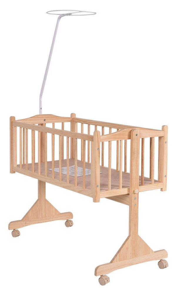Wood Baby Cradle Rocking Crib Bassinet Bed Sleeper Born Portable Nursery Yellow by Unknown (Image #4)