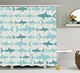 Best Ambesonne Home Fashion Curtains Whites - Ambesonne Fish Shower Curtain Blue Decor, Sharks Pattern Review