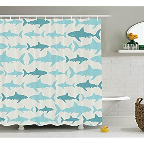 Fish Shower Curtain Blue Decor By Ambesonne, Sharks Pattern Sea Animals  Theme Monochrome Fashion Maritime Aquatic Print, Bathroom Accessories, With  Hooks, ...
