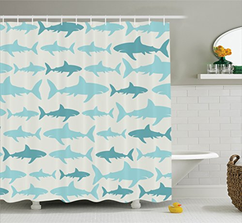Fish Shower Curtain Blue Decor by Ambesonne, Sharks Pattern Sea Animals Theme Monochrome Fashion Maritime Aquatic Print, Bathroom Accessories, with Hooks, 75 Inches Long, Blue White (Shark Themed Bathroom)