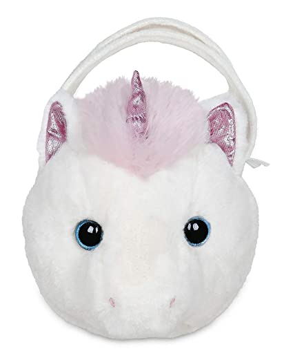 e1ae5aa5909e Image Unavailable. Image not available for. Color  Bearington Dreamer  Carrysome Girls Plush White and Pink Unicorn Stuffed Animal Purse ...