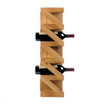 Amazoncom Wall Mounted Wine Rack Wood Kitchen Decorative Small