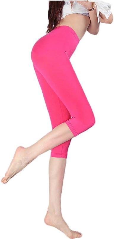 Hohh Pantalones Capri Para Mujer Y Adolescente 3 Y 4 Suaves Transpirables Sin Costuras Flexibles Para Uso Diario Pantalones Deportivos Regulares Amazon Es Ropa Y Accesorios