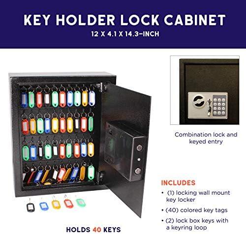 BEAMNOVA Key Box Organizer for 120 Keys Wall Mount Key Cabinet Lock Box with Fob Tags Home Cars Office File Cabinet Keys Holder
