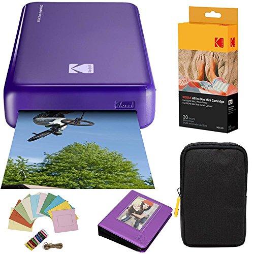 Kodak Mini2 Instant Photo Printer (Purple) Deluxe Bundle + Paper (20 Sheets) + Deluxe Case + Photo Album + Hanging Frames