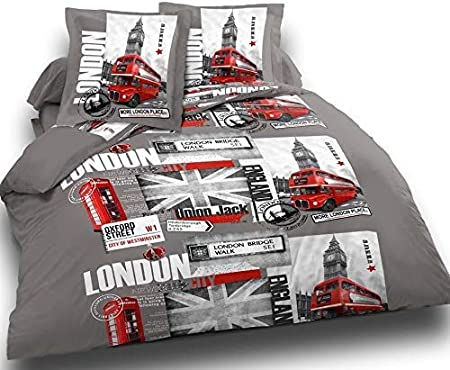 Cflagrant Housse De Couette London Uk 220x240 2 Personnes 2 Taies 65x65cm 100 Coton 57 Fils Londres Union Jack Gris Blanc Rouge Amazon Fr Cuisine Maison