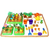 Liberty Imports Create-Your-Own Farm Building Playset for Kids with Garden Tools, Crops & Fruits