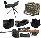 25-75x75 Rubber Armored Sniper Spotter Hunting Spotting Scope + Tripod + Shade + QD Shooting Rifle Shotgun & Muzzle Loader Steady Shooter Support Bag Set + ACU Camo Range Bag w/ Magazine Ammo Pouches
