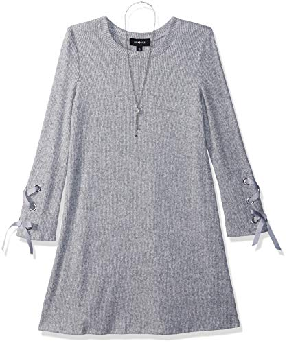 Amy Byer Girls' Big Long Sleeve Fuzzy Knit Dress, Heather Grey, L