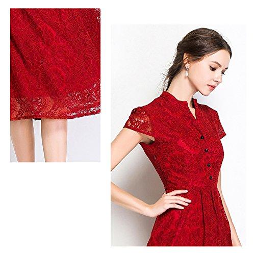 Kurzarm Partykleid E Midi Kleid Reine Hohl Rot Spitze YL24609 Cocktailkleid girl Kleider Damen Cocktail BwwxqPAX1