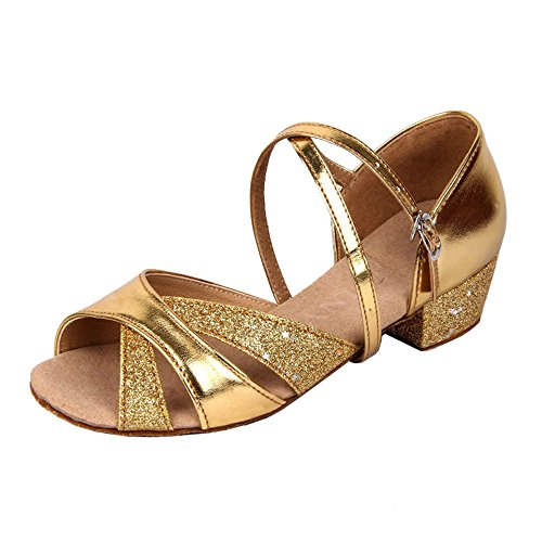 Image of staychicfashion Girls Soft-Soled Glittering Latin Ballroom Dance Shoes with Leather Strap