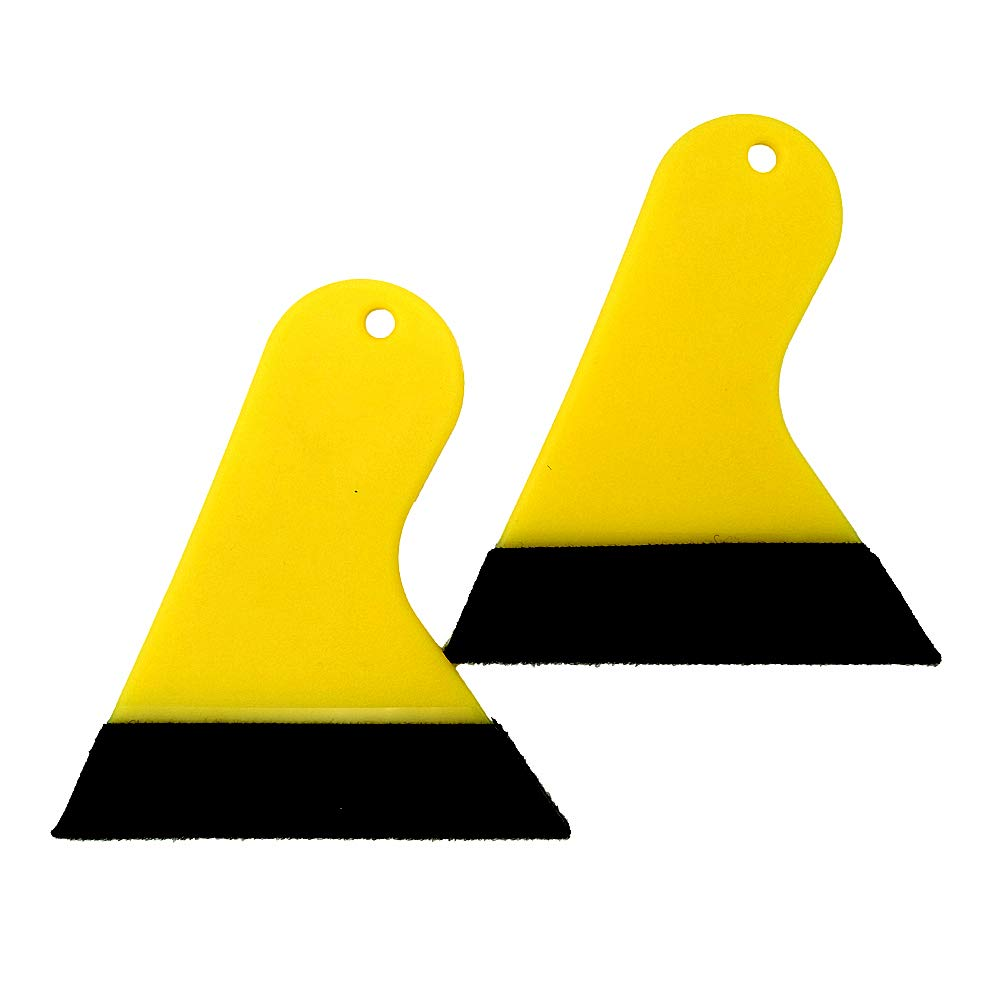 GUGUGI 2 Pack Mini Yellow Auto Wrapping Squeegee Plastic Scrapers Wallpaper Smoothing Tool with Comfort Handle Ideal for Auto Window Tint, Vinyl Wrap, Wallpaper Install, Sticker Removing