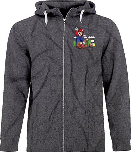 BSW Men's Super Mario Goomba Squish Harsh Crest Zip Hoodie Med Dark (Mens Super Mario Luigi Hoodie)