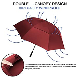 Rainlax Windproof Golf umbrella 62 Inch Extra Large Double Canopy Automatic Open Outdoor Rain&Wind Umbrellas (Wine)
