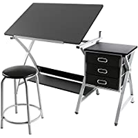 go2buy Adjustable Drafting Table Art & Craft Drawing Desk Art Design Architect w/ Stool