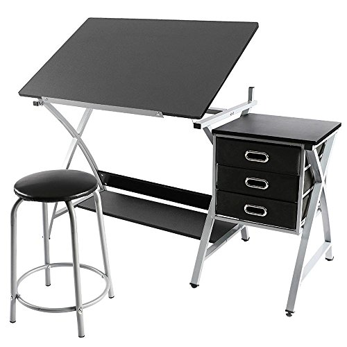 Yaheetech Adjustable/Folding Drafting/Drawing/Draft/Art/Craft Table/Desk with Stool and Storage Drawers Art Studio Design Craft Station (Art Desk Cheap)