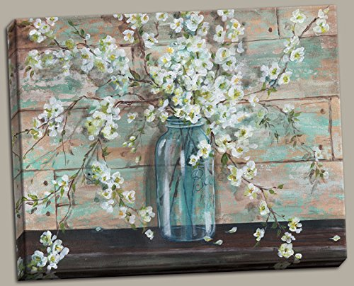 Decor Jar (Gango Home Decor Beautiful Watercolor-Style Blossoms In A Mason Jar Floral Print by Tre Sorelle Studios; One 20x16in Stretched Canvas)