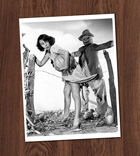 Witch with Scarecrow Pin Up Photo Vintage Art
