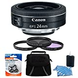 Canon EF-S 24mm Camera Lens Bundle Includes: EF-S 24mm f/2.8 STM Lens, Deluxe Gadget Bag, 52mm UV, Polarizer & FLD Deluxe Filter kit (set of 3 + carrying case), 3pc. Lens Cleaning Kit&Cap Keeper