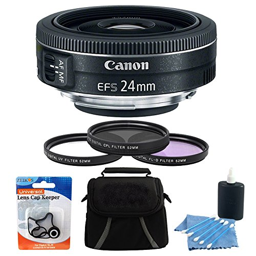 Canon EF-S 24mm Camera Lens Bundle Includes: EF-S 24mm f/2.8 STM Lens, Deluxe Gadget Bag, 52mm UV, Polarizer & FLD Deluxe Filter kit (set of 3 + carrying case), 3pc. Lens Cleaning Kit&Cap Keeper by Canon