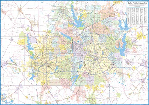 Dallas - Fort Worth Metro Area Laminated Wall Map (Fort Worth Tx Zip Code And Area Code)