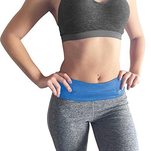 Fitness Running Belt Waist Pack - By Perdy Body Plus Bonus Light! Best Reversible Money Belt Fanny Pack for Phone, Money, Passport, Running, Hiking, Gym, Yoga, Travel and Fitness