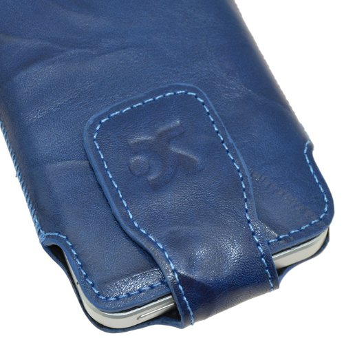 Original Suncase Echt Ledertasche für Apple iPhone 5 / 5S /5C wash-blau