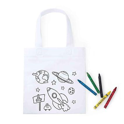Lote 20 Bolsas Infantiles para Colorear Espacio, Cada Bolsa Incluye 5 Ceras de Colores. Regalos Infantiles cumpleaños