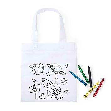Lote 30 Bolsas Infantiles para Colorear Espacio, Cada Bolsa Incluye 5 Ceras para Colorear.Regalos Infantiles cumpleaños