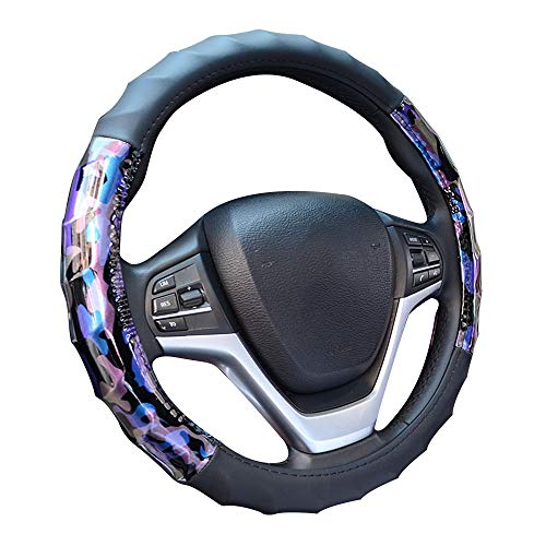 Charmchic Camo Purple and Blue Microfiber Leather Universal 15 Inch Car Steering Wheel Cover for Women Girl Men Heavy Duty Anti-Slip Odorless Sport Ergonomics Design Protect Hand Applicable to Accord