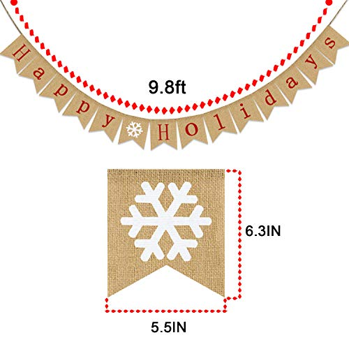 Happy Holidays Banner Burlap | Christmas Banner Burlap| Christmas Decorations| Holiday Decorations| Perfect for Home Yard Indoor Outdoor Mantel Fireplace Hanging Decor