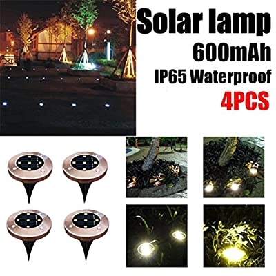 SUJING 4pcs LED Solar Ground Lights IP65 Waterproof Solar Garden Light Solar Path Lights Garden Landscape Lighting