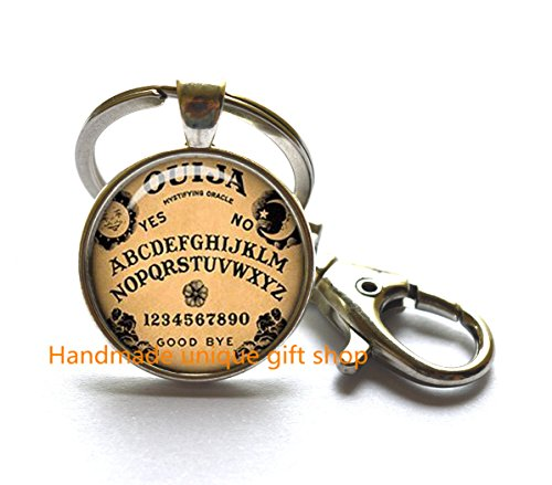 Handcrafted Ouija Board (Dainty Keychain, Delicate Keychain,Ouija Board Keychain Oujia Keychain Oujia Game Inspirational Gift Black Magick Photo Keychain Wiccan Jewelry Wicca Keychain Pagan Jewelry)