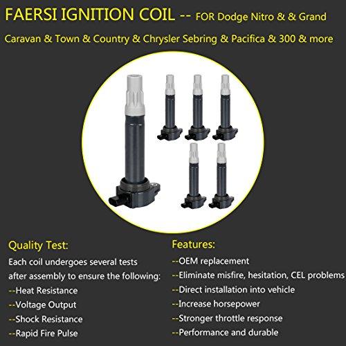 Ignition Coil Pack of 6 Replaces OE# 4606869AA for Dodge Chrysler V6 2 5L  2 7L 3 5L - Dodge Magnum Charger Nitro Challenger, Chrysler Sebring 300 &