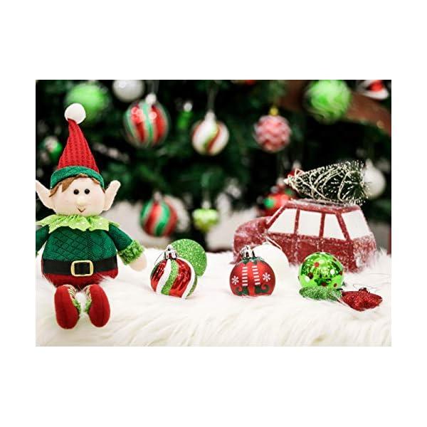 Victor's Workshop Addobbi Natalizi 35 Pezzi 5cm Palle di Natale per Albero, Delizioso Elfo Rosso Verde e Bianco Infrangibile Palla di Natale Ornamenti Decorazione 6 spesavip