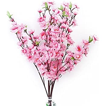 Amazon 39 inch artificial cherry blossom branches flowers silk tinksky 6pcs peach blossom simulation flowers artificial flowers silk flower decorative flowers wreaths pink mightylinksfo