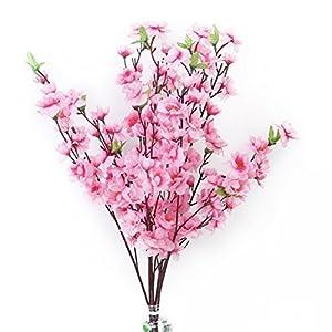 Tinksky 6pcs Peach Blossom Simulation Flowers Artificial Flowers Silk Flower Decorative Flowers Wreaths (Pink) 33