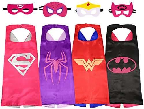SPESS Comics Cartoon hero Costumes 4Pcs Girl Capes and Masks