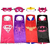 SPESS Comics Cartoon hero Costumes 4Pcs Girl Capes and Masks