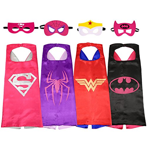 [SPESS Comics Cartoon hero Costumes 4Pcs Girl Capes and Masks] (All Costumes For Girls)